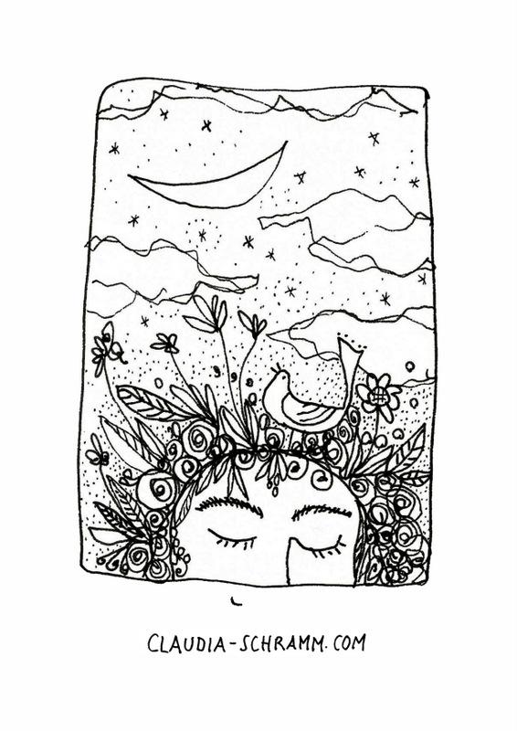 """Das Tagesbild vom 2. September zeigt die obere Hälfte eines Gesichtes. Die Person hat die Augen träumerisch geschlossen und ein Lächeln ist am unteren Bildrand angedeutet. An Stelle von Haaren oder einer Frisur """"wachsen"""" jede Menge Blüten, Blätter und Gräser auf dem Kopf und ein Vogel hat in dieser Fülle Platz genommen. Den Schnabel leicht geöffnet, schaut er nach oben, als wolle er singen. Über der Szene liegt die Monsichel, es ziehen ein paar Wolken über den Himmel und dazwischen blinken die Sterne."""