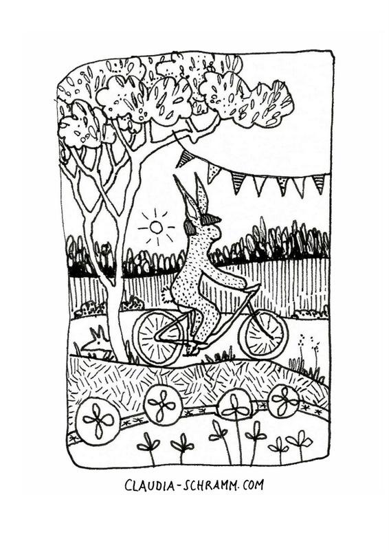 Ein Hase sitzt auf einem Fahrrad, er hat selbstverständlich (!) einen Helm auf dem Kopf. Vergnügt radelt er durch eine hügelige Landschaft. An dem Baum, den er gerade passiert, hängt eine Wimpelkette und hinter dem Stamm lugt verschmitzt ein Fuchs hervor.