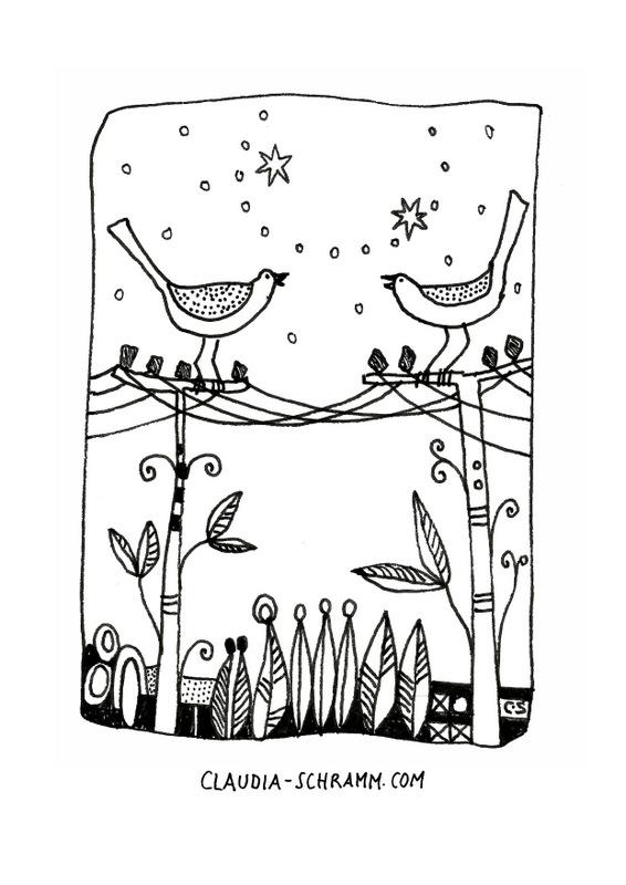 Zwei Vögel sitzen jeweils auf einem Telegrafenmast. Die Masten sind mit Telefonleitungen verbunden. Die beiden Vögel schauen sich an und zwitschern sich einander ein Lied zu. Der Stamm der Masten ist mit Streifen und Ornamenten verziert und es wachsen Äste und Blätter aus den Masten.