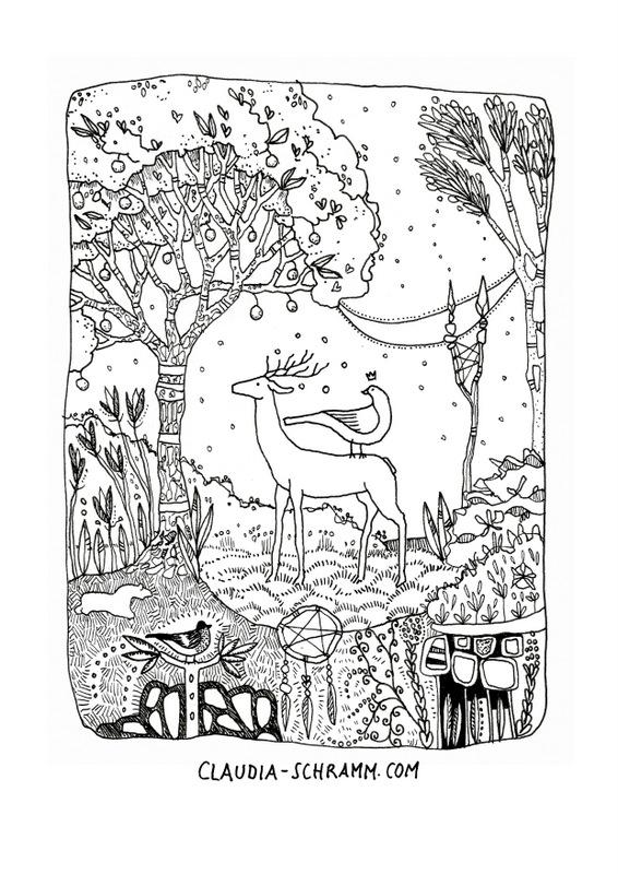 Ein Hirsch steht auf einer Waldlichtung. Auf seinem Rücken hat ein Fasan seinen Platz eingenommen. Über dessen Kopf schwebt ein kleines Krönchen. Im Hintergrund steht die Mondsichel am Himmel und scheint zwischen den Bäumen hindurch. Um die beiden Tiere herum ist eine üppig wuchernde paradiesische Landschaft voller Blumen, Blätter, Moos, Ornamenten und Pflanzen zu sehen. Ein Dompfaff sitzt im Vordergrund auf einer Astgabel.